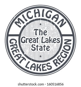 Grunge rubber stamp with name of Michigan, Great Lakes Region, vector illustration