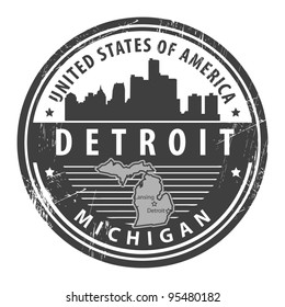 Grunge rubber stamp with name of Michigan, Detroit, vector illustration