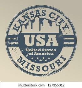 Grunge rubber stamp with name of Missouri, Kansas City, vector illustration
