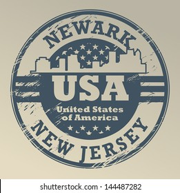 Grunge rubber stamp with name of New Jersey, Newark, vector illustration