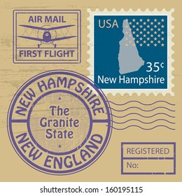 Grunge rubber stamp with name of New Hampshire, vector illustration