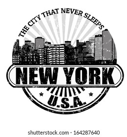 Grunge rubber stamp with the name of New York ( The city that never sleeps), written inside