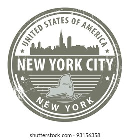 Grunge rubber stamp with name of New York, New York City, vector illustration