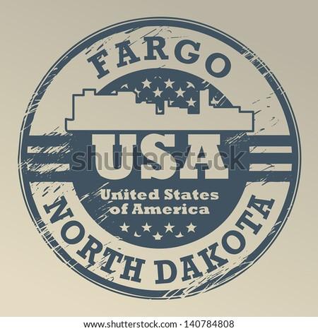 Grunge Rubber Stamp With Name Of North Dakota Fargo Vector Illustration
