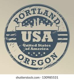 Grunge rubber stamp with name of Oregon, Portland, vector illustration