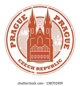 Grunge rubber stamp with the name of Prague, Czech Republic written inside the stamp, vector illustration