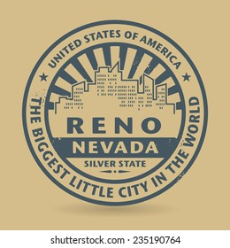 Grunge rubber stamp with name of Reno, Nevada, vector illustration