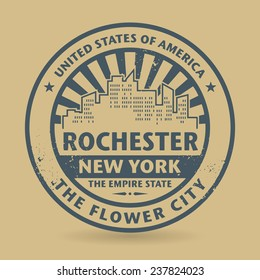 Grunge rubber stamp with name of Rochester, New York, vector illustration