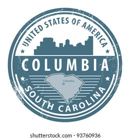Grunge rubber stamp with name of South Carolina, Columbia, vector illustration