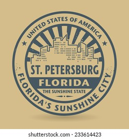 Grunge rubber stamp with name of St. Petersburg, Florida, vector illustration