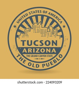 Grunge rubber stamp with name of Tuscon, Arizona, vector illustration