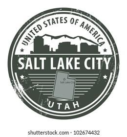 Grunge rubber stamp with name of Utah, Salt Lake City, vector illustration