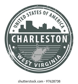 Grunge rubber stamp with name of West Virginia, Charleston, vector illustration