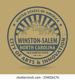 Grunge rubber stamp with name of Winston-Salem, North Carolina, vector illustration