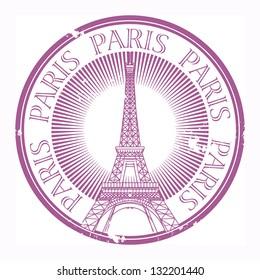 Grunge rubber stamp Paris theme, vector illustration