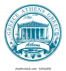 Grunge rubber stamp with Parthenon  and the word Athens, Greece inside, vector illustration