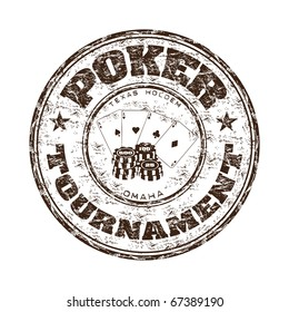 Grunge rubber stamp with poker cards, chips and the text poker tournament written inside the stamp