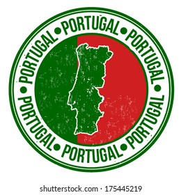 Grunge rubber stamp with portugal flag, map and the word Portugal written inside, vector illustration