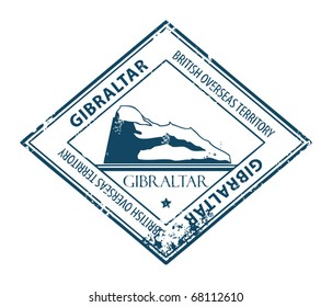 Grunge rubber stamp with rock and the word Gibraltar inside, vector illustration