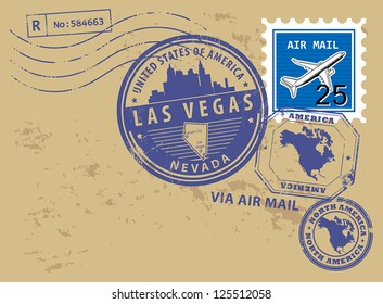 Grunge rubber stamp set with name of Nevada, Las Vegas, vector illustration