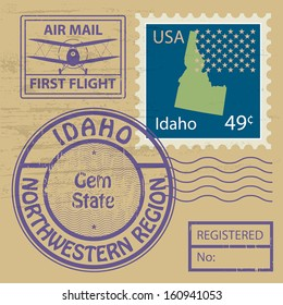 Grunge rubber stamp set with name of Idaho, vector illustration