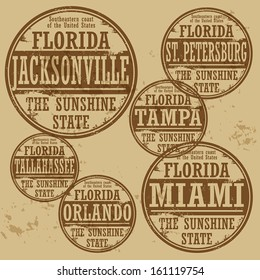 Grunge rubber stamp set with names of Florida cities, vector illustration