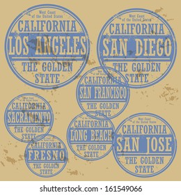 Grunge rubber stamp set with names of California cities, vector illustration