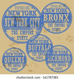 Grunge rubber stamp set with names of New York cities, vector illustration