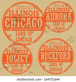 Grunge rubber stamp set with names of Illinois cities, vector illustration