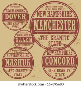 Grunge rubber stamp set with names of New Hampshire cities, vector illustration