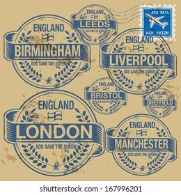 Grunge rubber stamp set with names of England cities, vector illustration