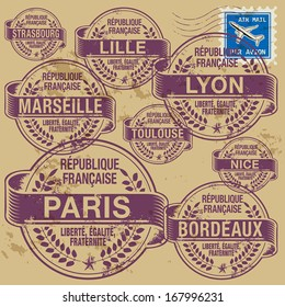 Grunge rubber stamp set with names of France cities, vector illustration