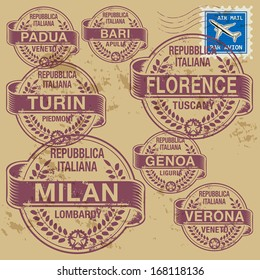 Grunge rubber stamp set with names of Italian cities (part two), vector illustration
