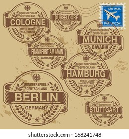 Grunge rubber stamp set with names of Germany cities, vector illustration