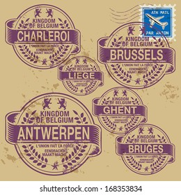 Grunge rubber stamp set with names of Belgium cities, vector illustration
