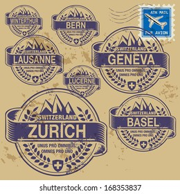 Grunge rubber stamp set with names of Switzerland cities, vector illustration