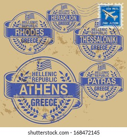 Grunge rubber stamp set with names of Greece cities, vector illustration