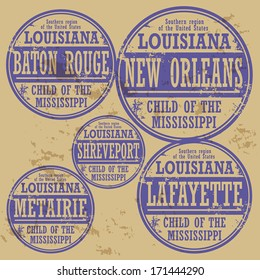 Grunge rubber stamp set with names of Louisiana cities, vector illustration