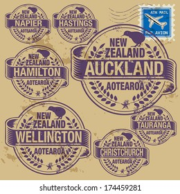 Grunge rubber stamp set with names of New Zealand cities, vector illustration