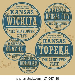 Grunge rubber stamp set with names of Kansas cities, vector illustration