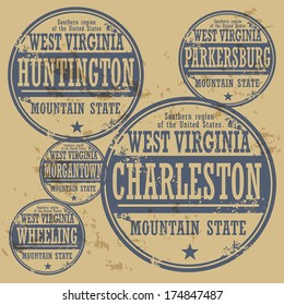 Grunge rubber stamp set with names of West Virginia cities, vector illustration