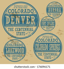 Grunge rubber stamp set with names of Colorado cities, vector illustration