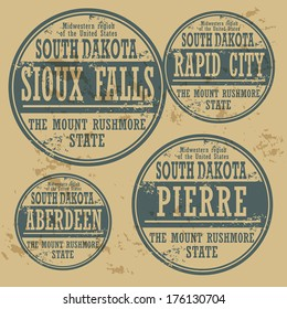 Grunge rubber stamp set with names of South Dakota cities, vector illustration
