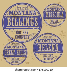 Grunge rubber stamp set with names of Montana cities, vector illustration