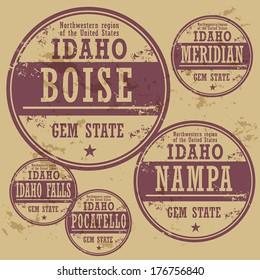 Grunge rubber stamp set with names of Idaho cities, vector illustration