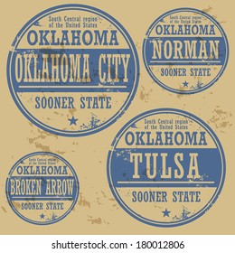 Grunge rubber stamp set with names of Oklahoma cities, vector illustration