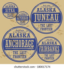 Grunge rubber stamp set with names of Alaska cities, vector illustration