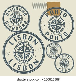 Grunge rubber stamp set with names of Portugal cities, vector illustration