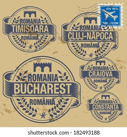 Grunge rubber stamp set with names of Romania cities, vector illustration