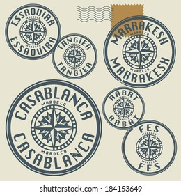 Grunge rubber stamp set with names of Morocco cities, vector illustration